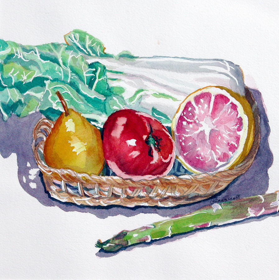 Still Life Painting - Gift Basket by Jan Bennicoff