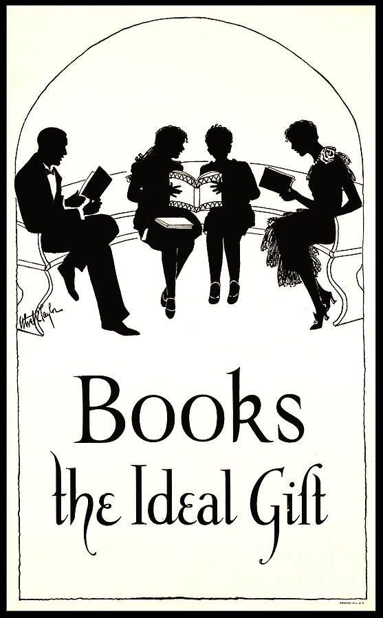 Reading Photograph - Gift Books 1920 by Padre Art