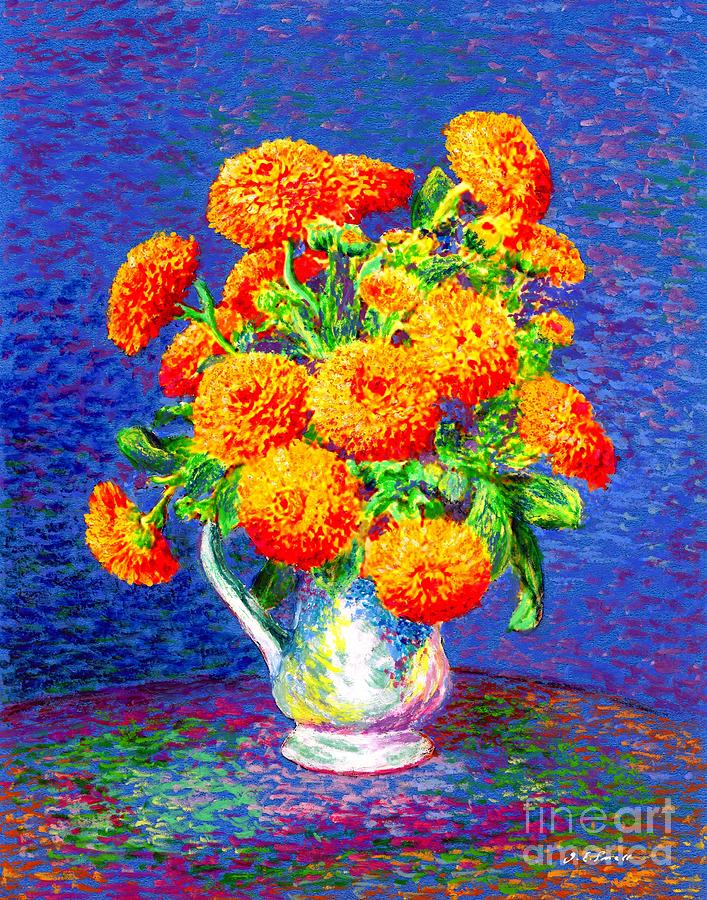 Flower Painting - Gift Of Gold, Orange Flowers by Jane Small