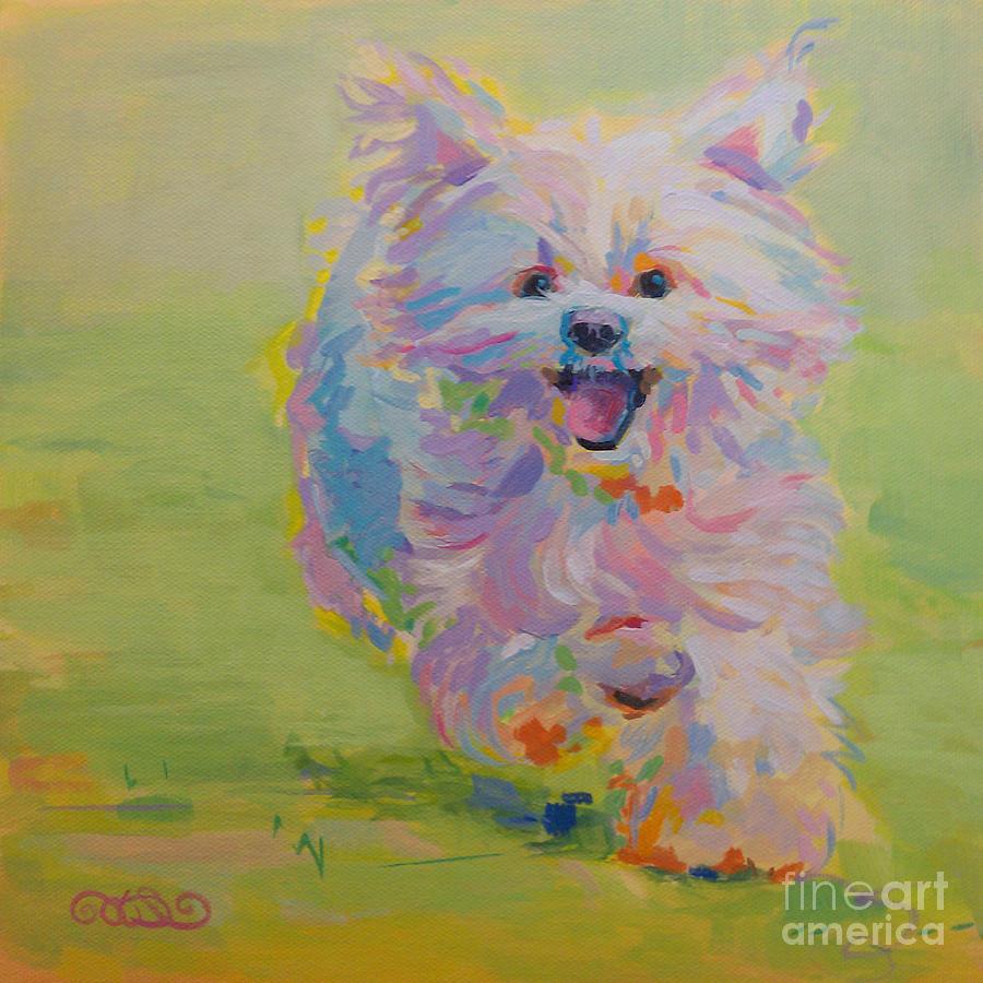 White Dog Painting - Gigi by Kimberly Santini