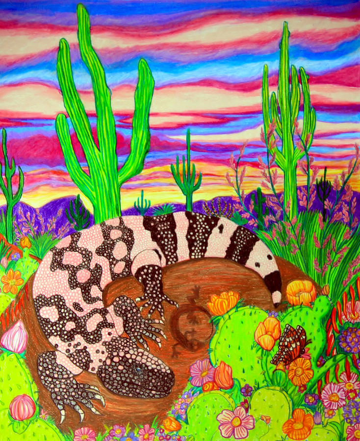 Gila Monster Drawing - Gila Monster In Desert by Nick Gustafson