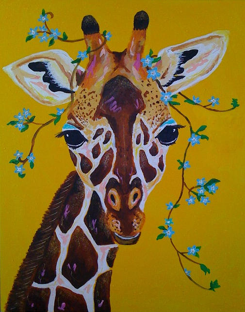 Gilda The Giraffe Painting by Emily Reynolds Thompson
