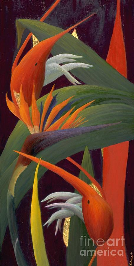 Floral Painting - Ginger And Bird Of Paradise by Mary Erbert