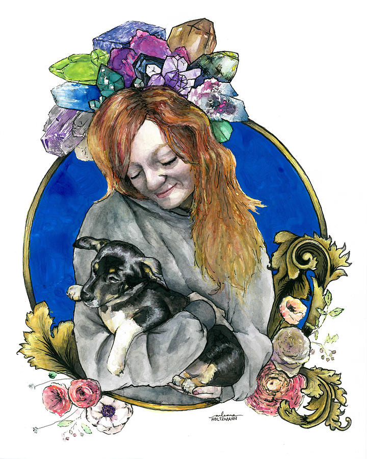Puppy Painting - Ginger and her Lovelies by Arleana Holtzmann
