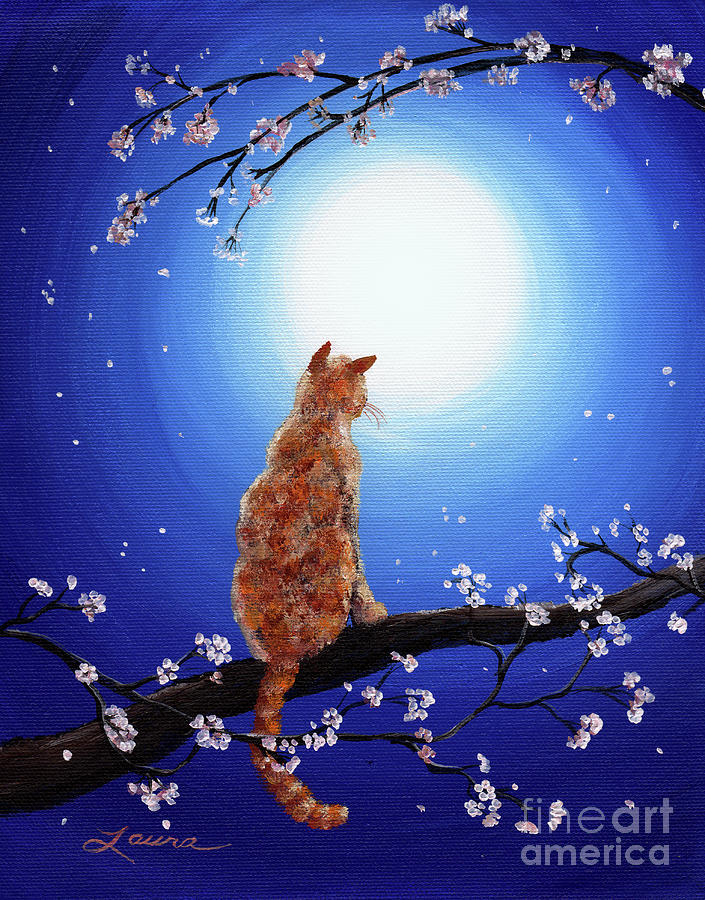 Picture Of Tabby Cat And The Moon