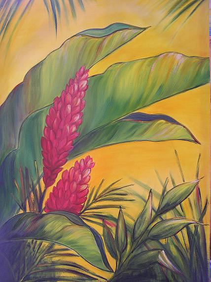 Tropical Painting - Gingerly by Shelley Hecht