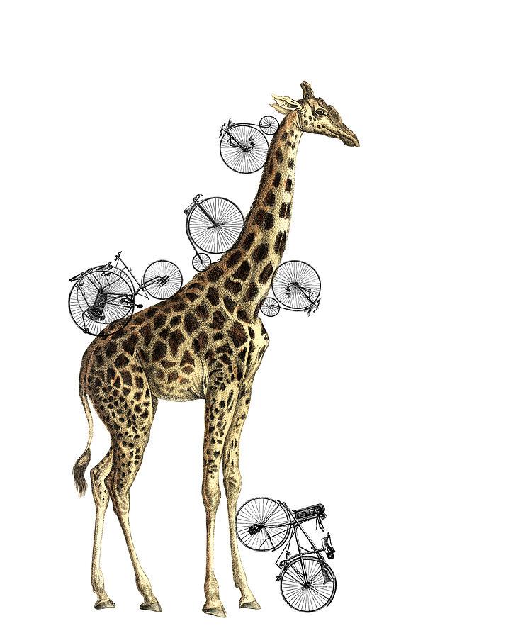 Giraffe Digital Art - Giraffe And Bicycles by Madame Memento