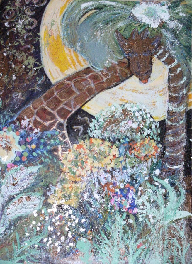 Flowers Painting - Giraffe And Foliage by Anne-Elizabeth Whiteway