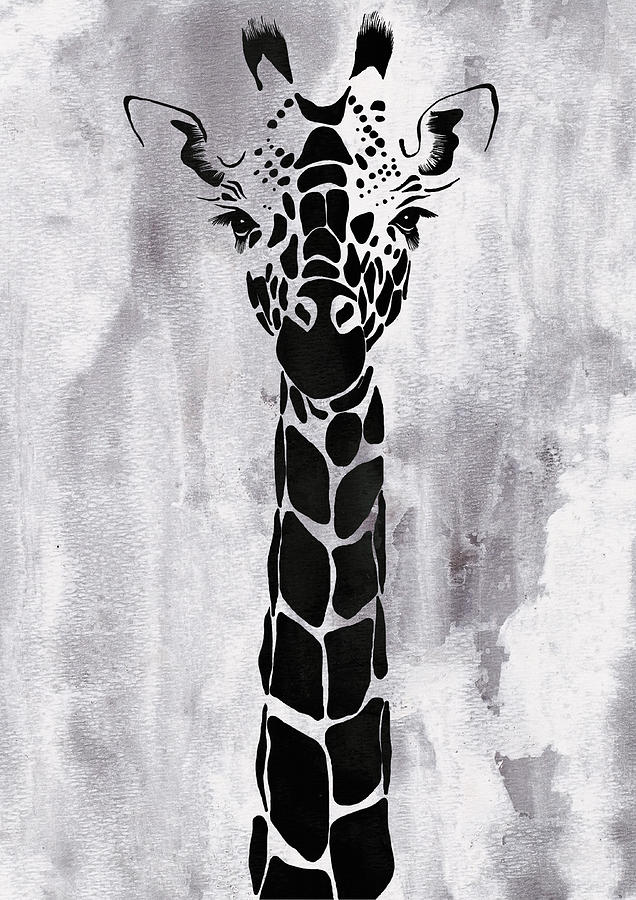 Giraffe Animal Decorative Black And White Wall Poster 1 By Diana Van By Diana Van