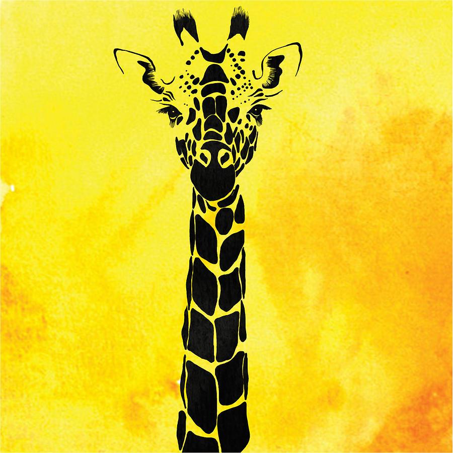 Giraffe Animal Decorative Yellow Wall Poster 10 Painting by Diana Van