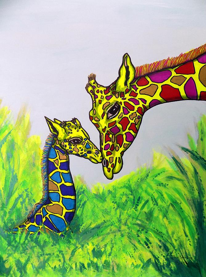 Giraffes Painting - Giraffe Baby And Mom In Grass by Mary Sperling