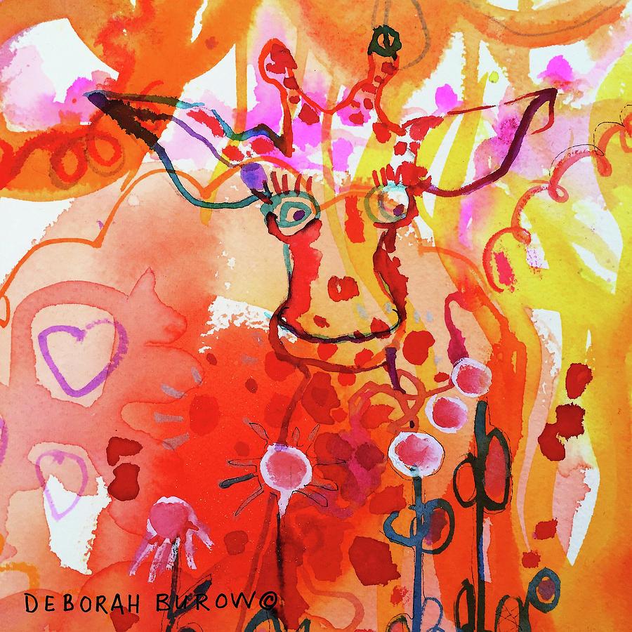 Giraffe Painting - Giraffe Delightful Deborah by Deborah Burow