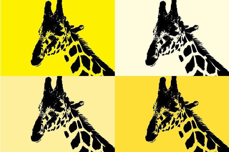 California Desert Digital Art - Giraffe Four Square by Colleen Cornelius