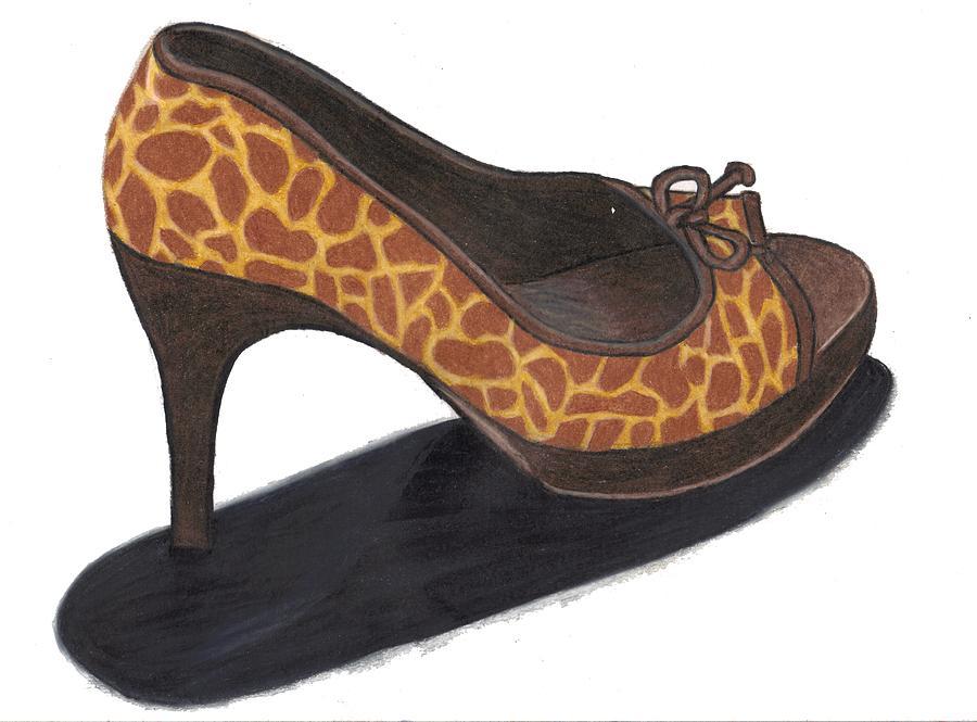 Shoe Drawing - Giraffe Heels by Jean Haynes
