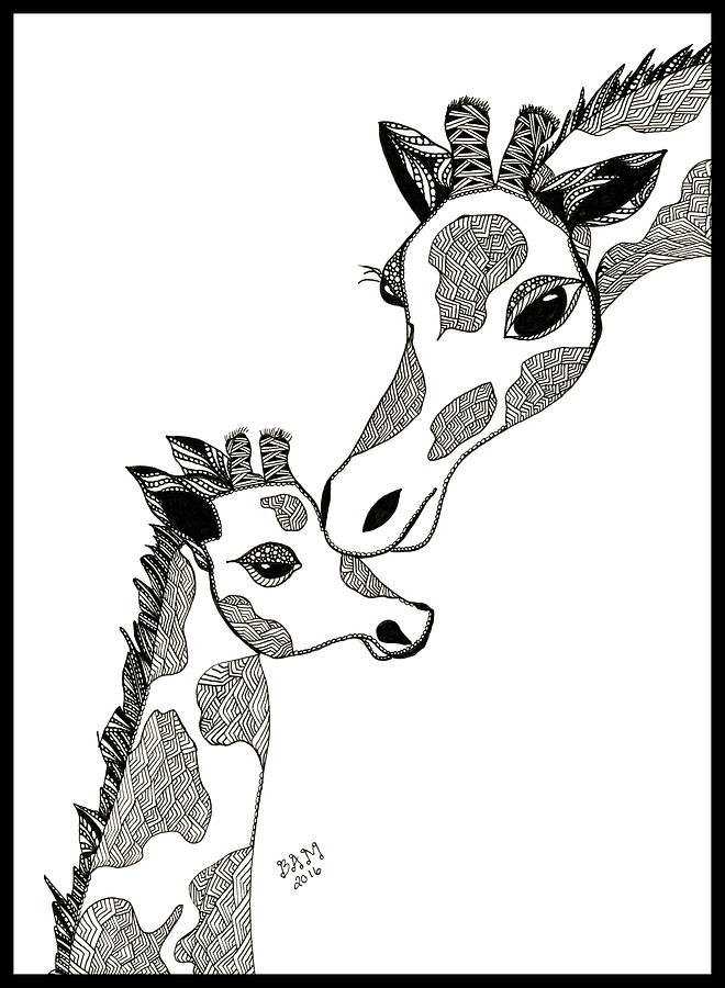Giraffe Mom and Baby by Barbara McConoughey