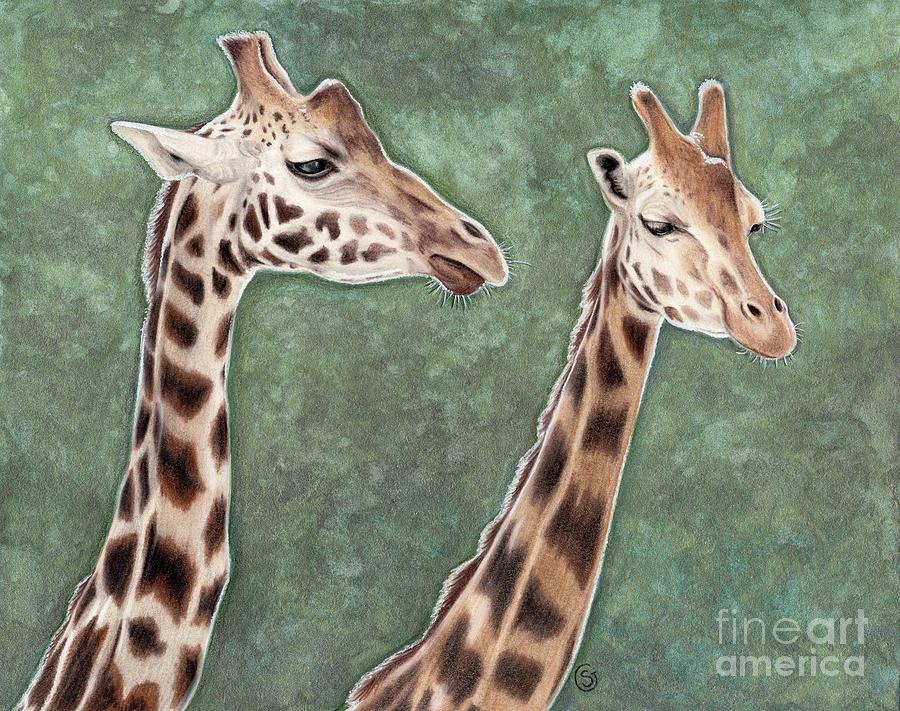 Giraffe Painting - Giraffe Pair by Sherry Goeben