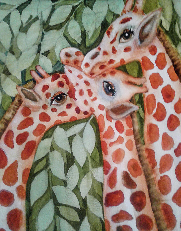 Painting Painting - Giraffe Trio By Christine Lites by Allen Sheffield