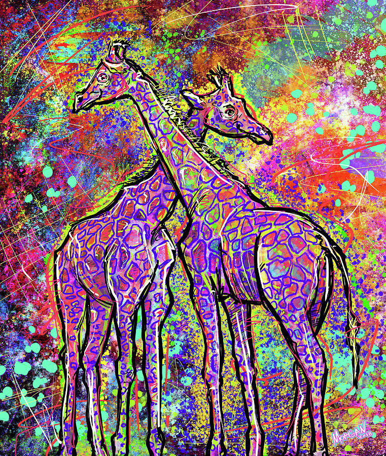 Elephant Digital Art - Giraffes  by Morgan Richardson