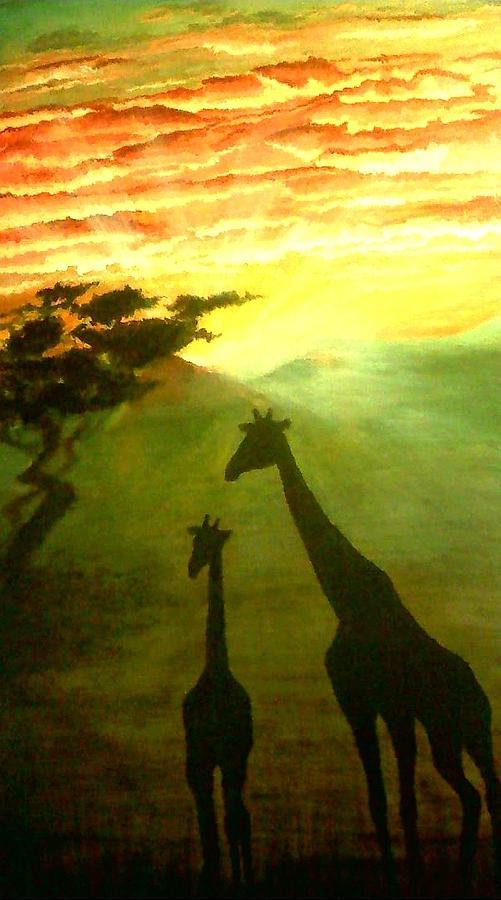 Giraffes Sunset Silhouette Painting By Carol Meza