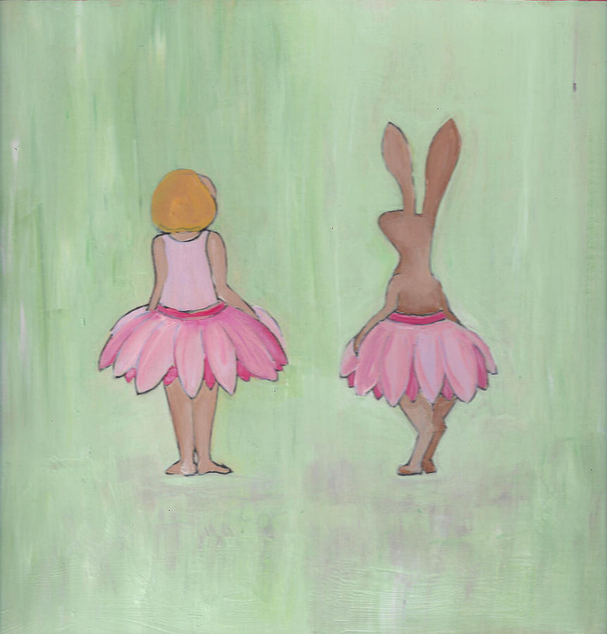 Girl and Bunny in Pink Tutus by Caroline Sainis