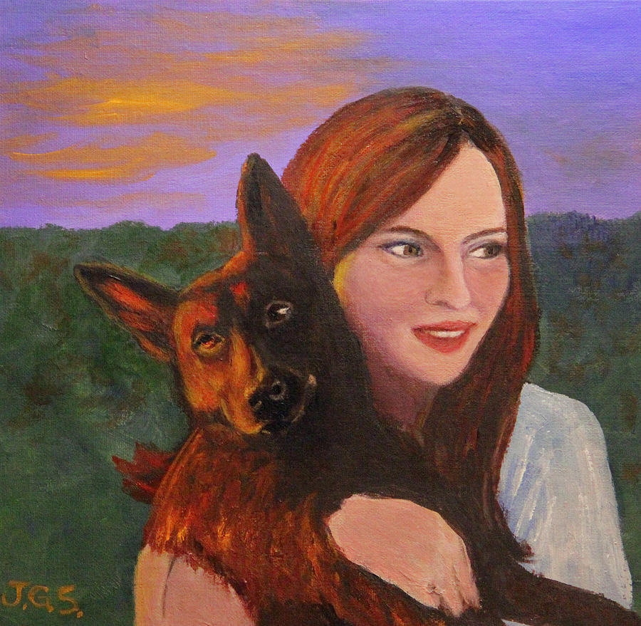 Girl and Her Dog by Janet Greer Sammons