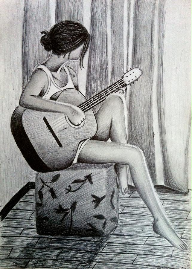 girl and her guitar drawing by cheryl court
