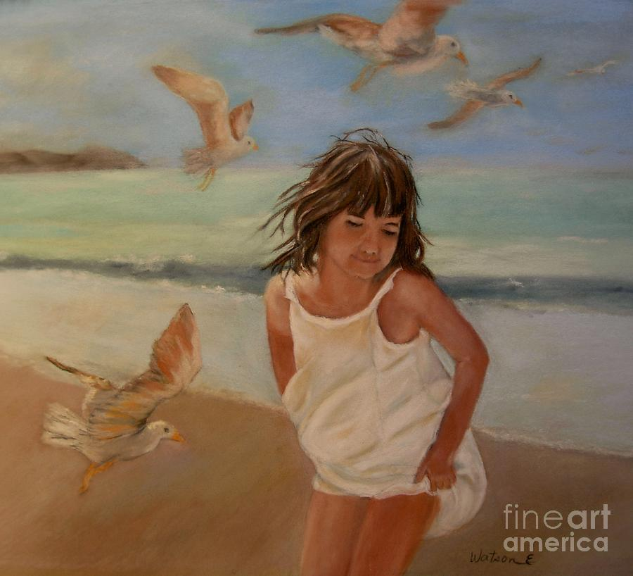 Ocean Painting - Girl And The Seagulls by Ceci Watson