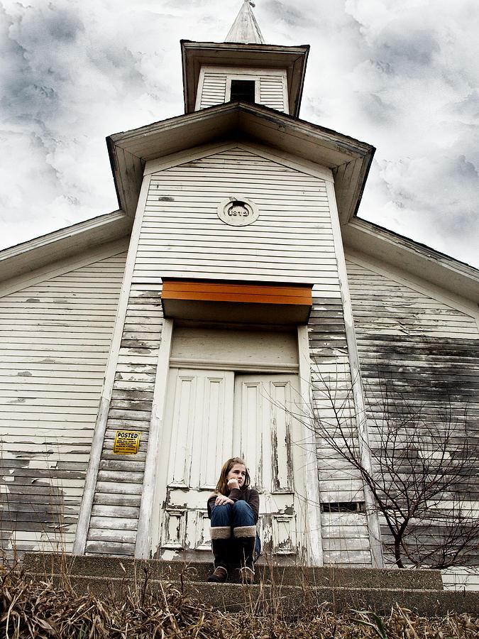 Church Photograph - Girl At Abandon Church by Kelly  Burke