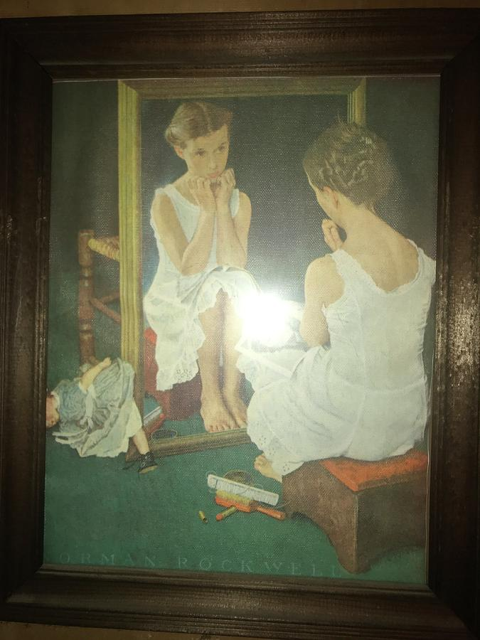 Frame Painting - Girl At Mirror 1954 by Norman Rockwell