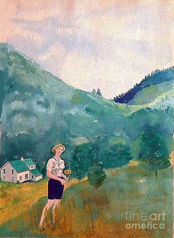 Watercolor Painting Painting - Girl At Murray Hollow by Fred Jinkins