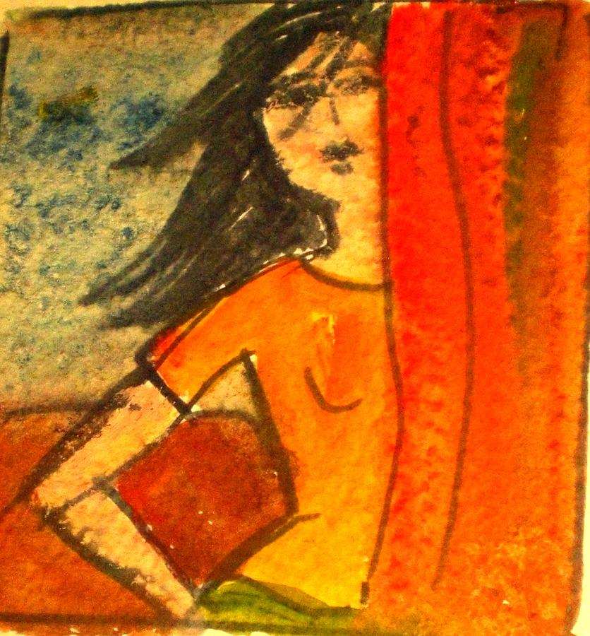 Watercolour Painting - Girl Behind The Curtain by Maria Rosaria DAlessio