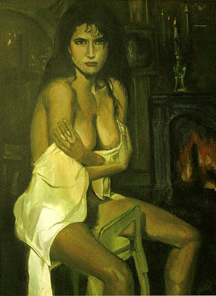 Nude Painting - Girl By The Fire by Bobby Barredo