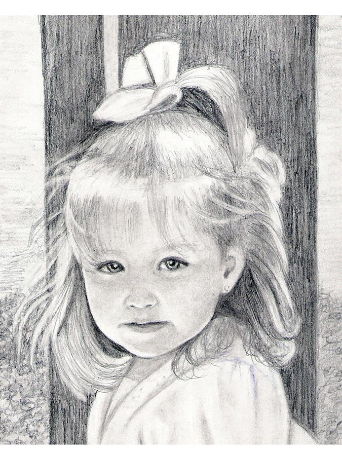 Children Drawing - Girl By The Tree by Raissa Davis