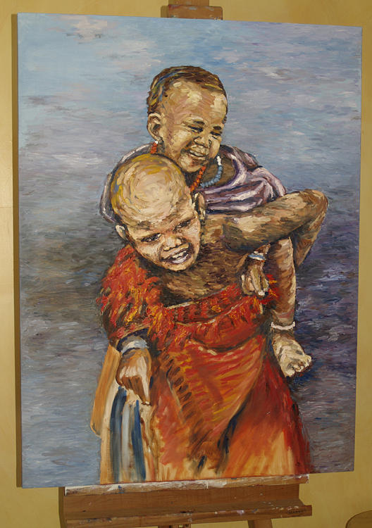 Portrait Painting - Girl Carrying Little Brother by Luiana Foibe Makundi