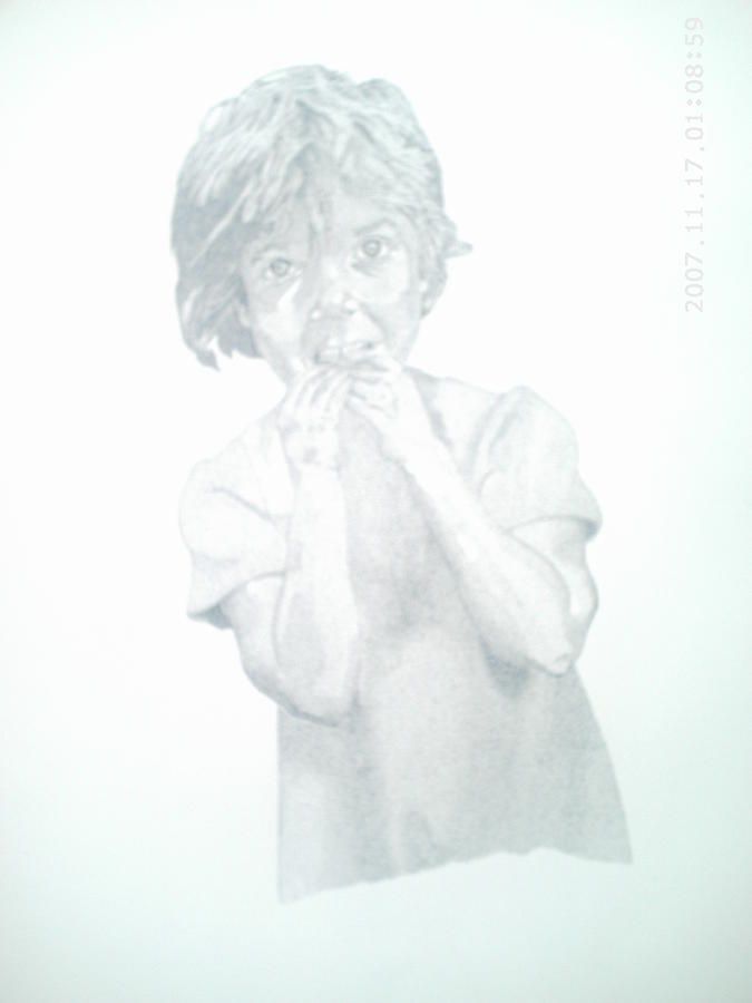 Girl Drawing - Girl Chewing Fingers by Peter Fredericks