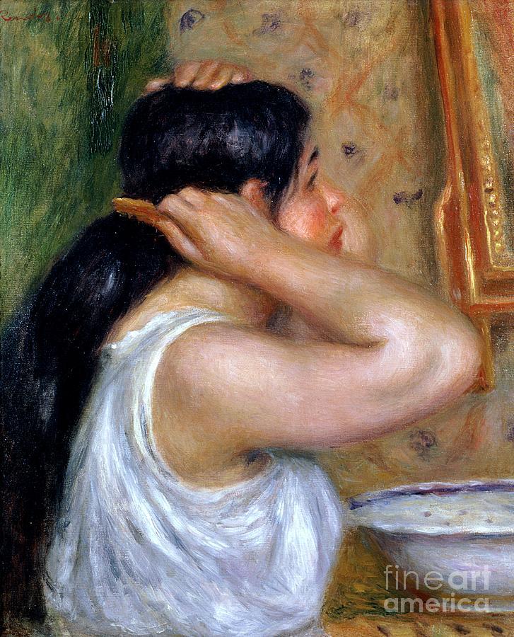 Girl Painting - Girl Combing Her Hair by Pierre Auguste Renoir