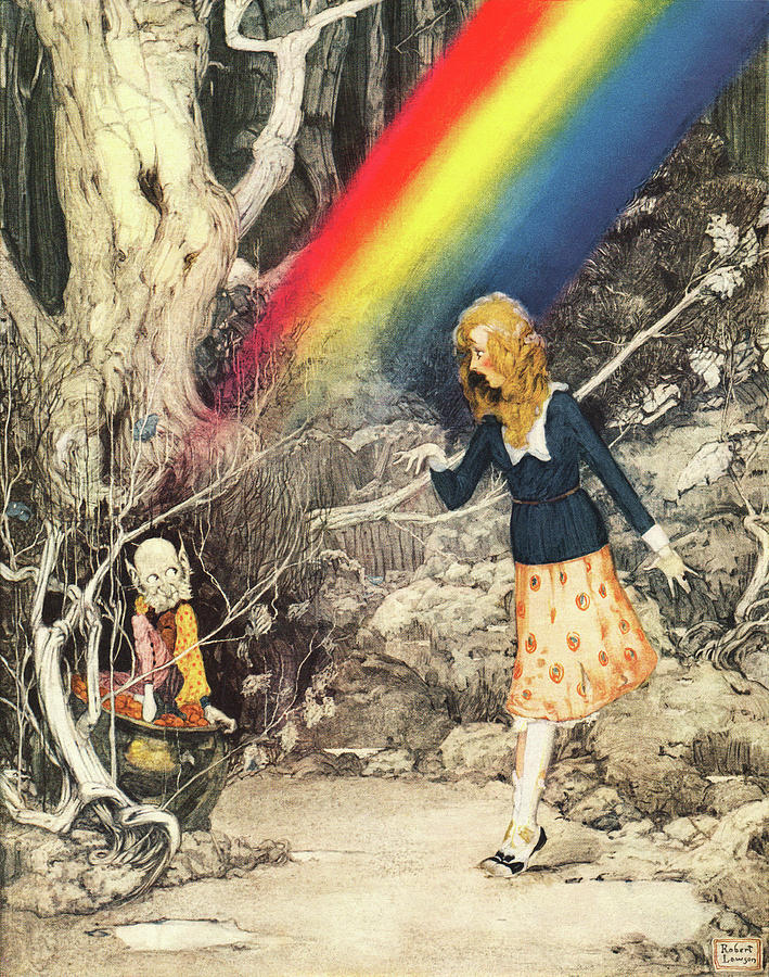 Female Painting - Girl Finds Leprechaun Guarding Gold Under Rainbow by Robert Lawson