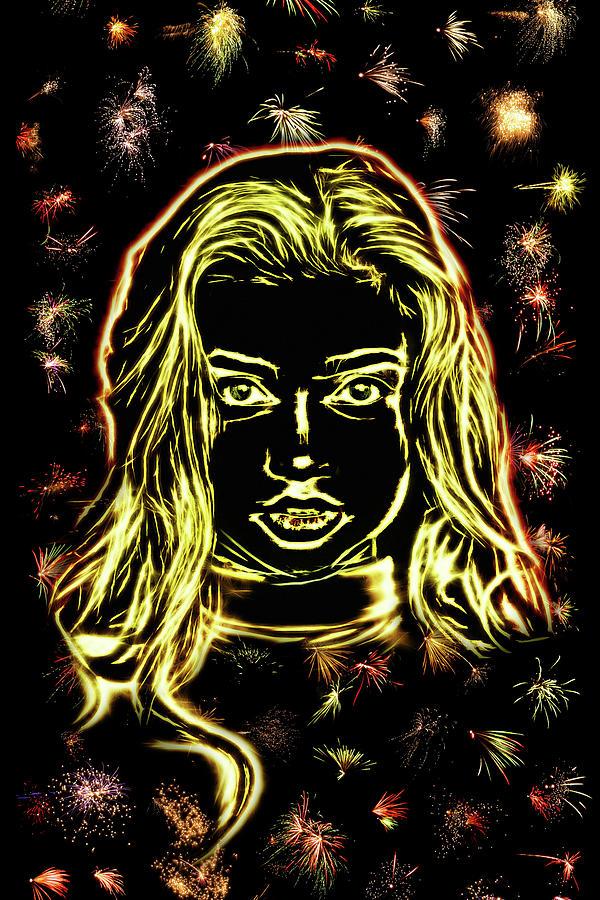 Girl Digital Art - Girl Fireworks by Arthur Charpentier