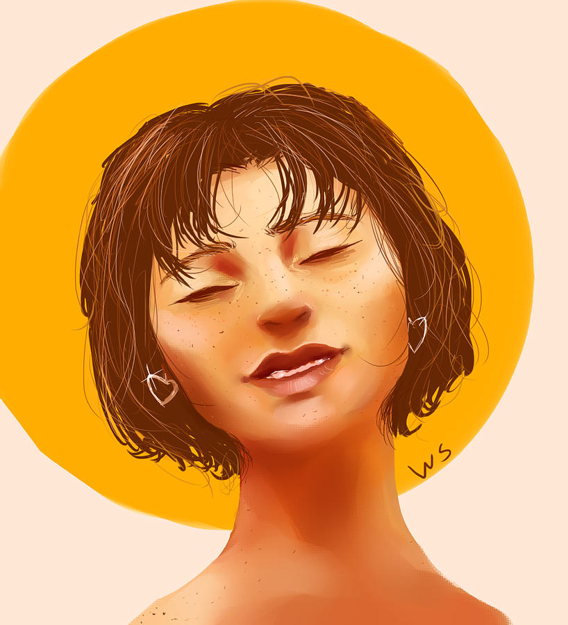 Portrait Digital Art - Girl From The Sun by Willow Schafer