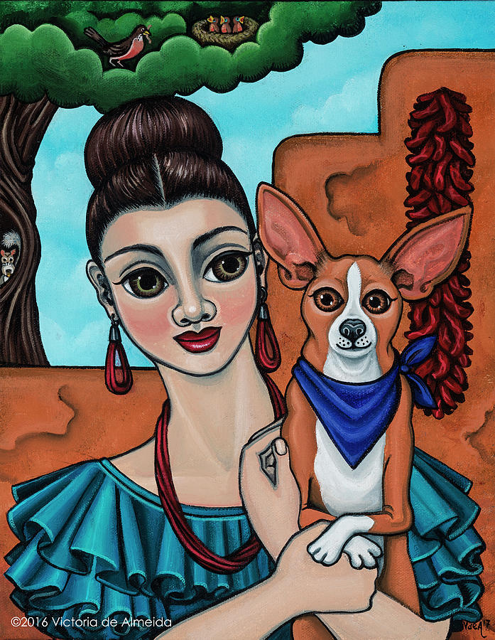 Girl Holding Chihuahua Art Dog Painting  by Victoria De Almeida
