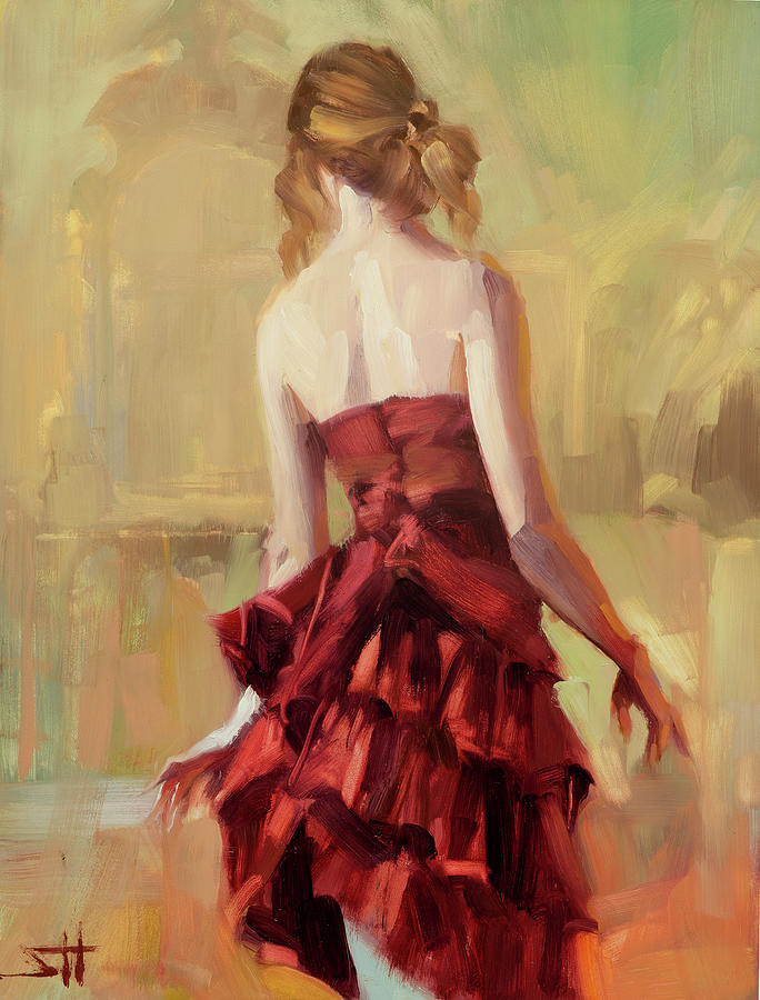 Girl In A Copper Dress II Painting
