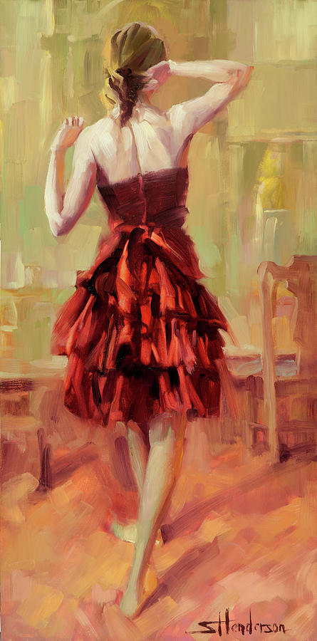 Dancer Painting - Girl in a Copper Dress III by Steve Henderson