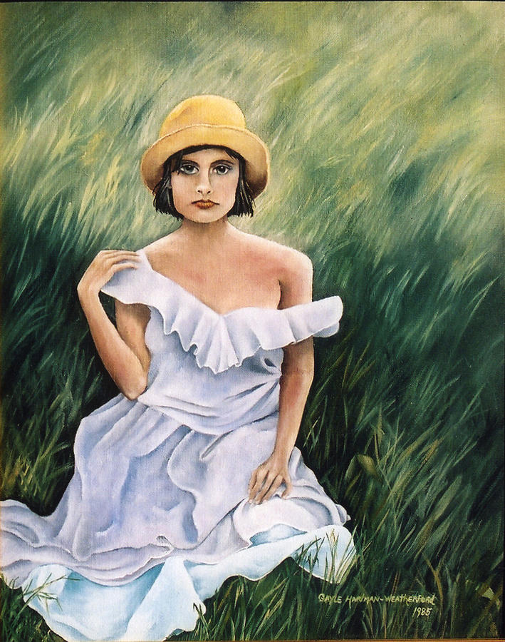 Woman Portrait Painting - Girl In A Field Of Grass by  Gayle  Hartman