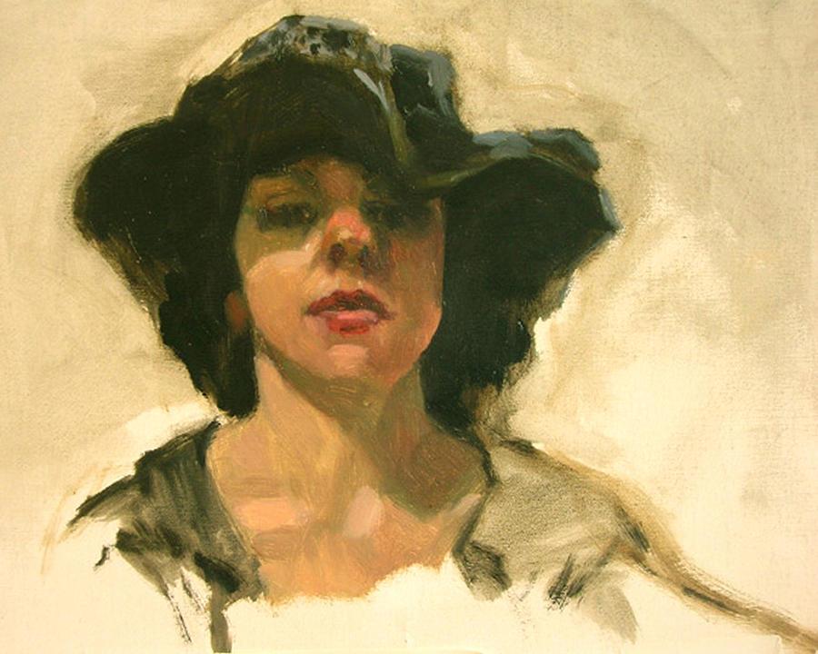 Portrait Painting - Girl In A Floppy Hat by Merle Keller