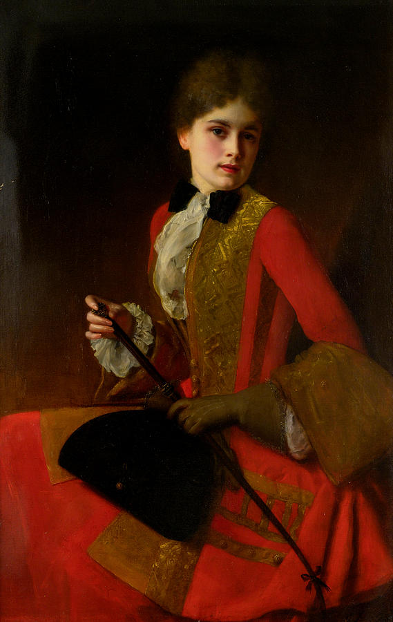 Girl In A Riding Outfit Painting by Gustave Jean Jacquet