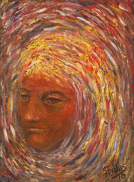 Teenage Girl Painting - Girl In A Swirl by Herman Sillas