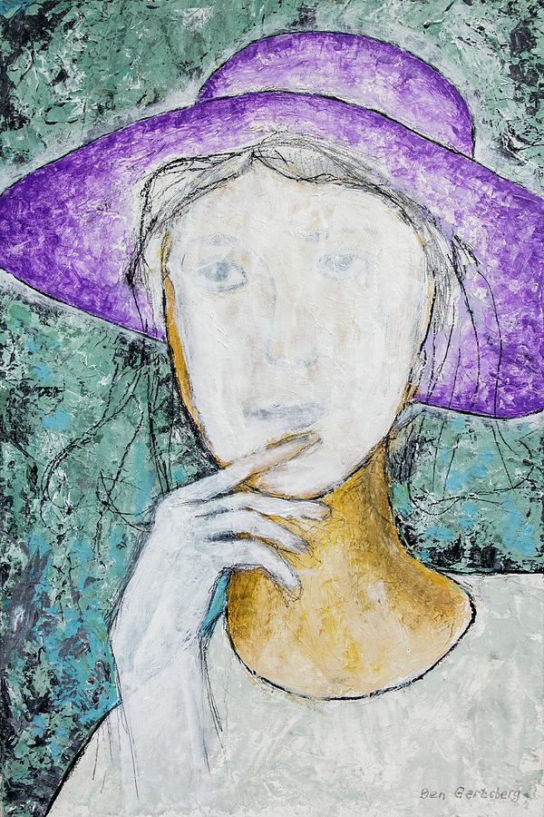 Portrait Painting - Girl With A Violet Hat by Ben Gertsberg