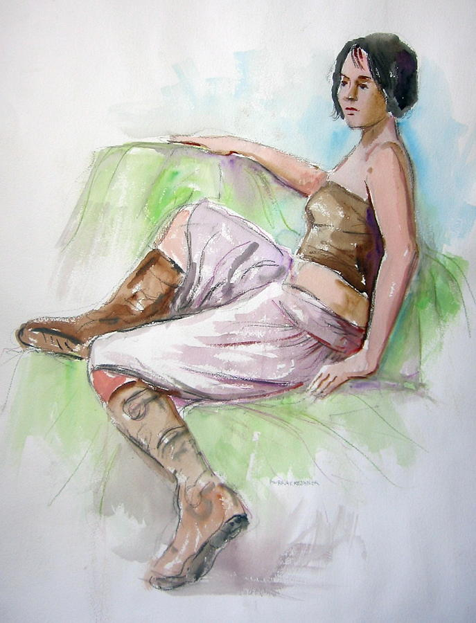 Girls Painting - Girl In Boots by Murray Keshner