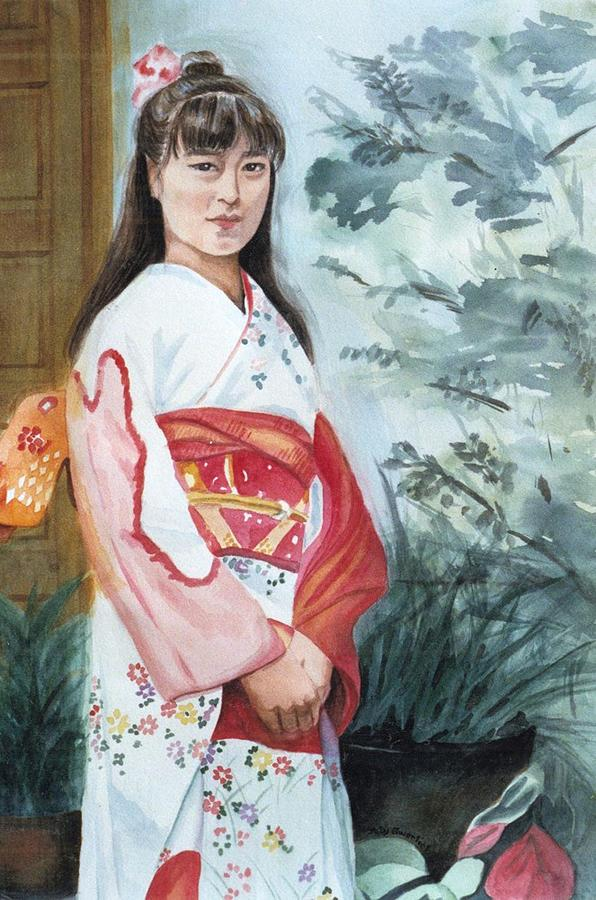 Long Hair Painting - Girl In Kimono by Judy Swerlick