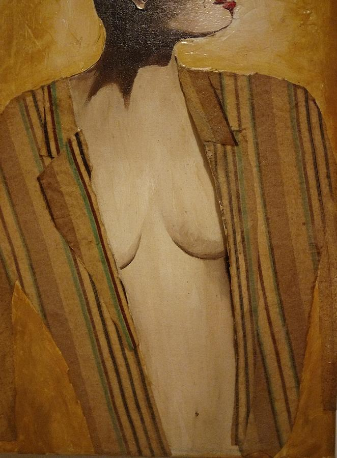 Girl In Mans Shirt Painting by Edward Longo